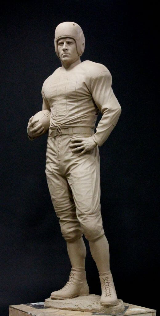Clay original of The Victor, football player, by Benjamin Victor.