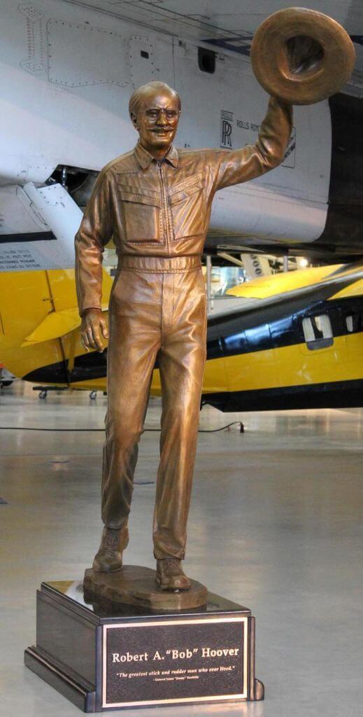 Bronze sculpture of Bob Hoover by Benjamin Victor.