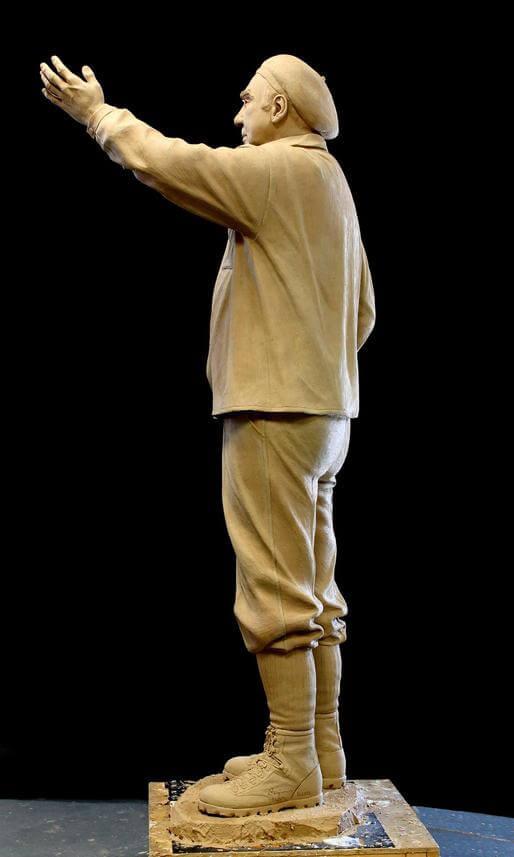 Picture of original clay sculpture of Paul Petzoldt by Benjamin Victor.
