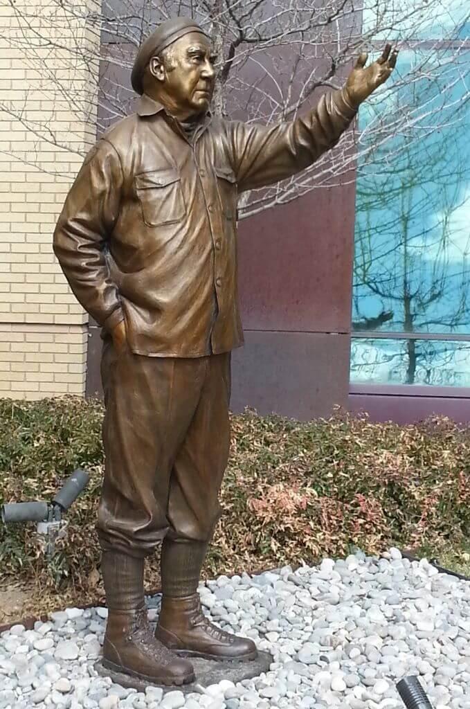 Bronze sculpture of Paul Petzoldt by Benjamin Victor.