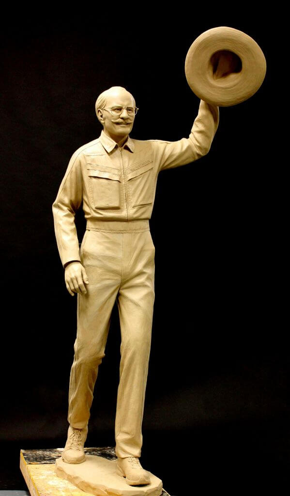 Original clay sculpture of Bob Hoover by Benjamin Victor.