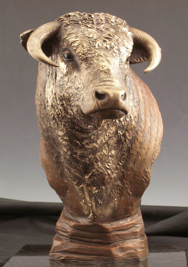 Bronze maquette of a Hereford Bull by Benjamin Victor.