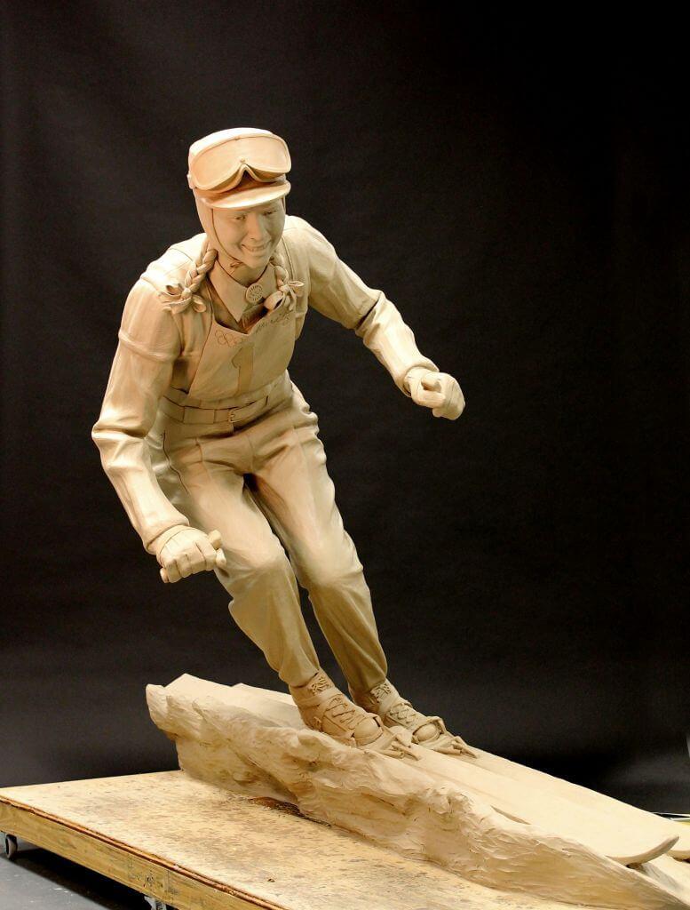 Clay original of Gretchen Fraser, Olympic Ski Champion