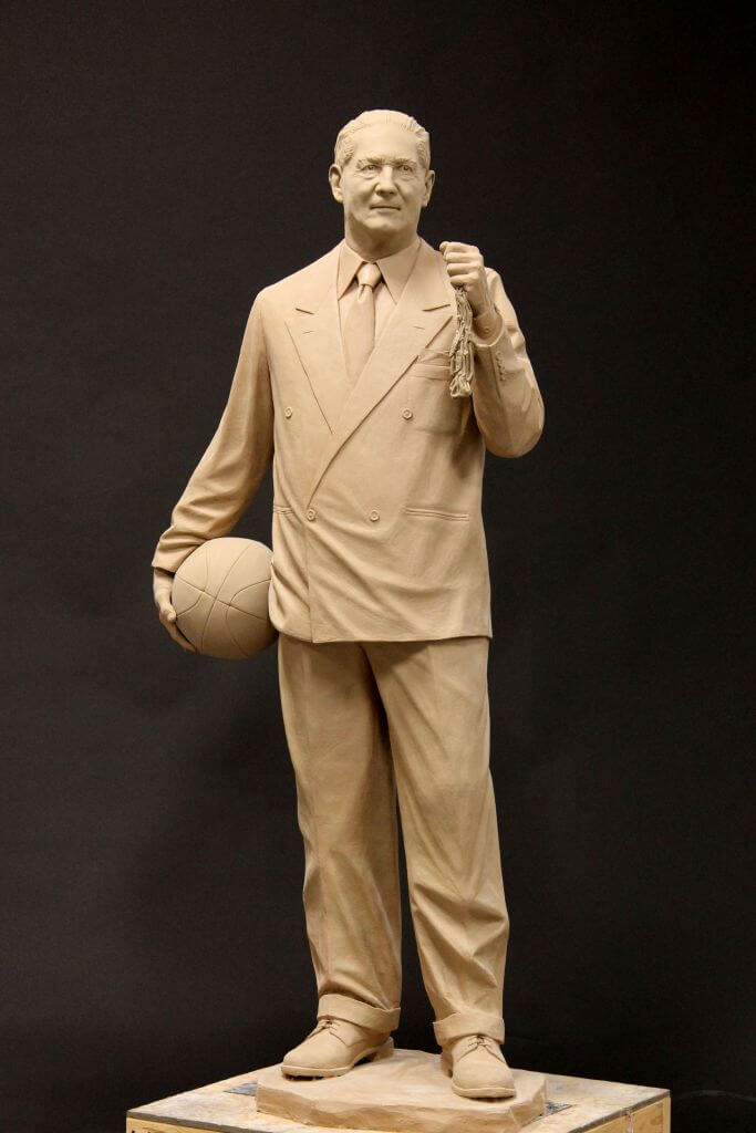 Clay original of NC State Basketball Coach Everett Case.