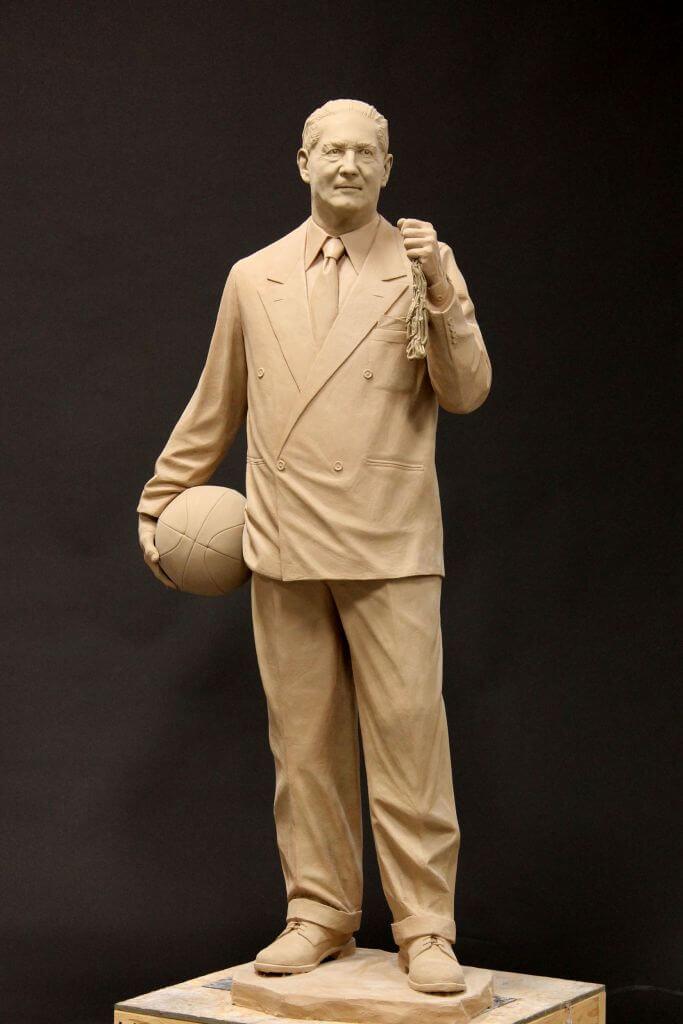 Clay original of NC State Basketball Coach Everett Case.