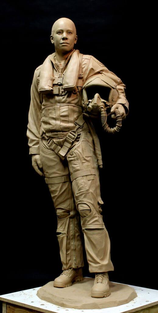 Bronze statue of Shawna Rochelle Kimbrell. Life size bronze sculpture of Shawna Kimbrell. Air Force Bronze sculpture.
