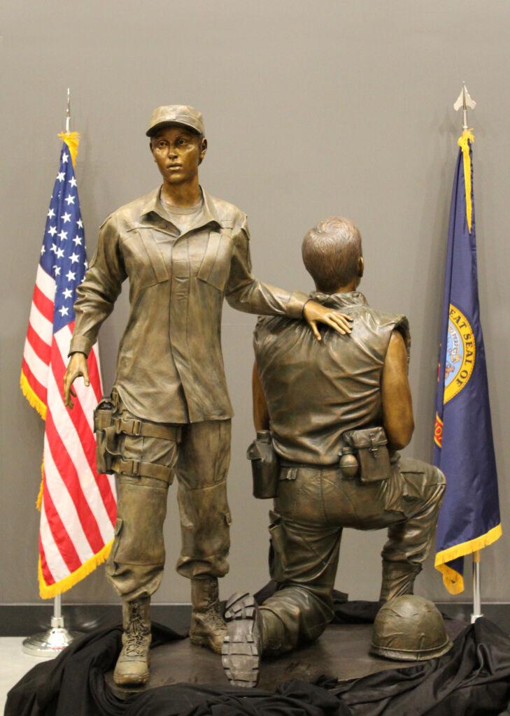 Bronze military memorial sculpture life size